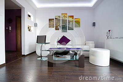 Modern living room with Cliffs of Moher canvas