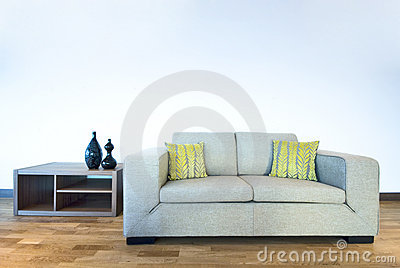 Modern living room detail with contemporary sofa