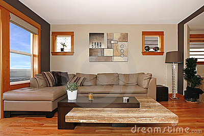 Modern living room interior with leather sofa
