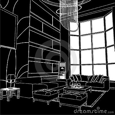 Free Modern Living Room Interior Vector 01 Royalty Free Stock Images - 16585229