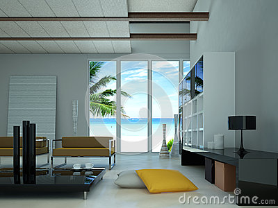 Modern living-room with a large window showing a beach