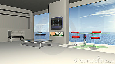 Modern living room with a panorama view to the sea