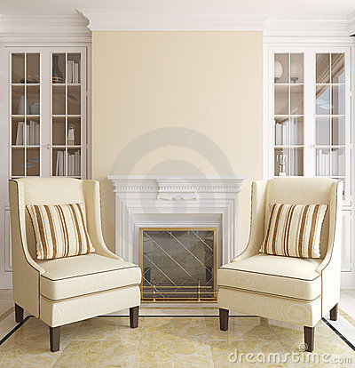 Free Modern Living-room With Fireplace. Stock Image - 22755721