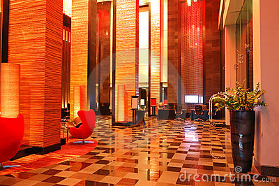 Modern lobby interior in night illumination