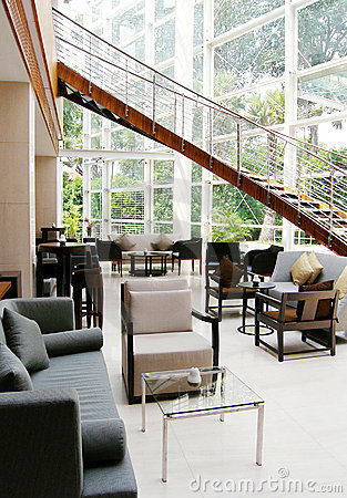 Modern lobby lounge interior, hotel