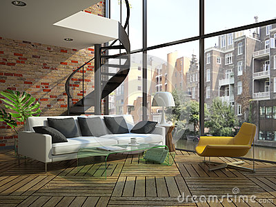 Modern loft interior with part of second floor