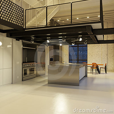 Modern loft kitchen at night