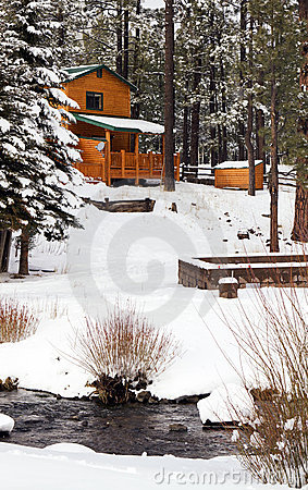 Free Modern Log Cabin Home In The Winter Woods Stock Image - 22575181