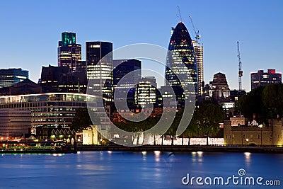 Modern London city office skyline by night