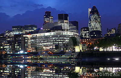 Modern London cityscape at night