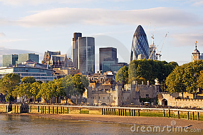 Modern London cityscape at sunset