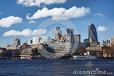 Modern London over Thames