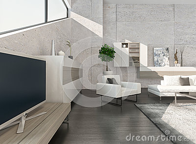 Modern Luxury Living Room Interior With Nice Furniture Stock