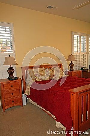 Modern master bedroom in red