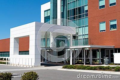 Modern medical center entrance