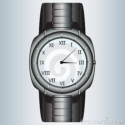 Modern metallic watch
