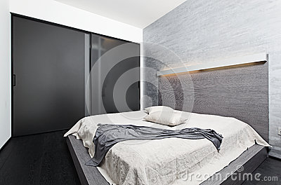 Modern minimalism style bedroom interior