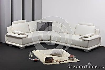 A modern minimalist living-room with furnitu