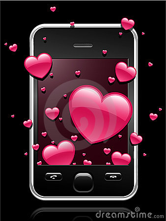 Modern mobile phone with hearts coming out of