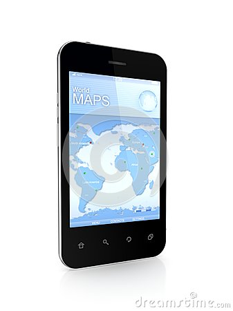 Modern mobile phone a world map.
