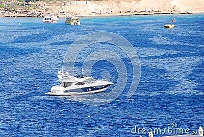 Modern motor yacht in Naama Bay