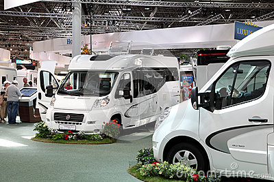 Modern motorhomes at exhibition Editorial Stock Photo