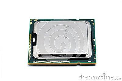 Modern multicore CPU with white backgroun