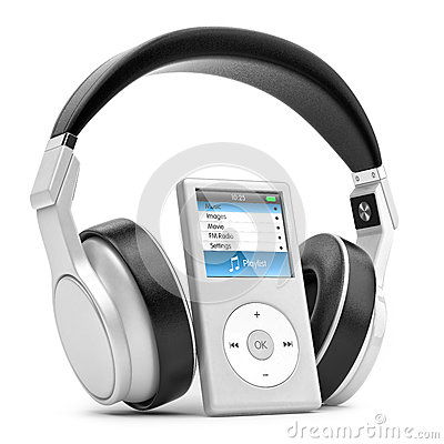 Free Modern Musical Multimedia Player And Silver Headphones. Stock Image - 40666771
