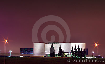 Modern national art gallery in Vilnius night scene