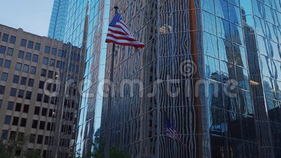 Modern Office buidling and Falg of the United States at Oklahoma City - USA 2017. Modern Office buidling and Falg of the United States at Oklahoma City stock footage