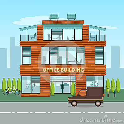 Free Modern Office Building In Cartoon Flat Style Stock Photo - 56273260