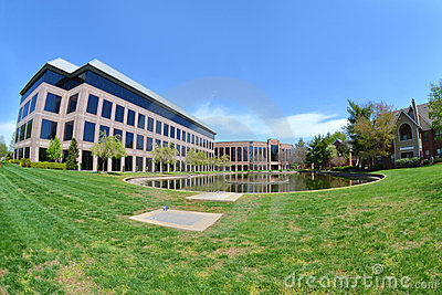 Modern Office building with Pond