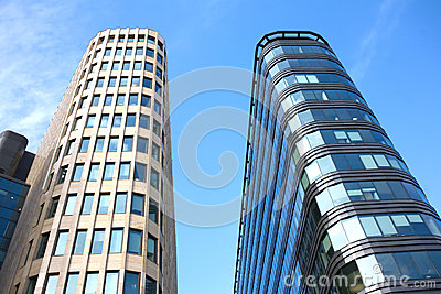 Modern office buildings close up