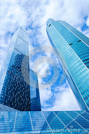 Free Modern Office Buildings. Low Angle Shot Of Modern Glass Skyscrap Stock Image - 92918071