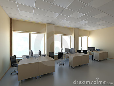 Modern office with computers interior