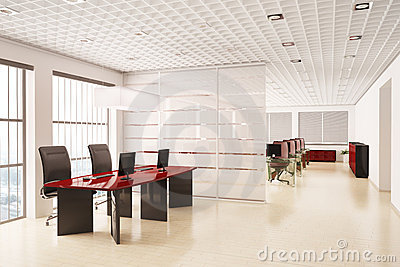 Modern office with computers interior 3d