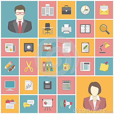 Free Modern Office Icons Royalty Free Stock Image - 39445166