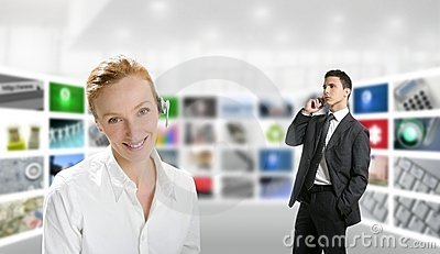 Modern office, woman and businessman, tv screen