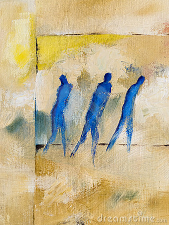 Modern oilpainting of three people walking