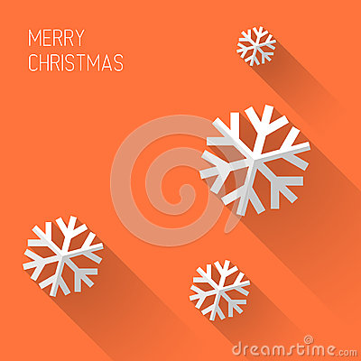 Modern orange christmas card with flat design