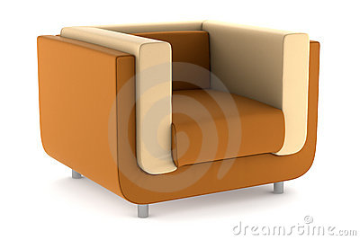 Modern orange leather armchair isolated on white