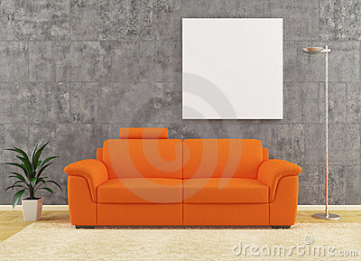 Modern orange sofa on dirty wall interior design