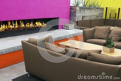 Modern Outdoor Patio Fireplace