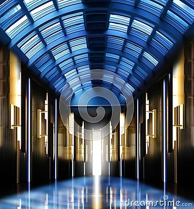 Modern perspective glass roof corridor