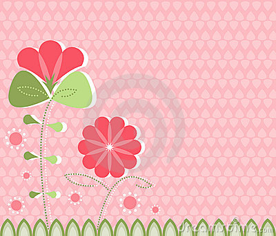 Modern Poppies on Pink