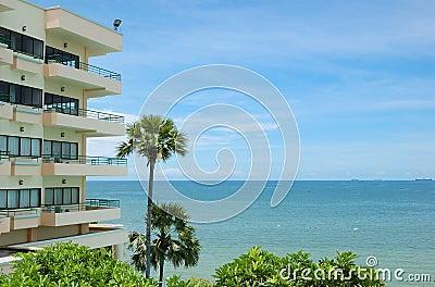 Modern popular hotels at the seashore