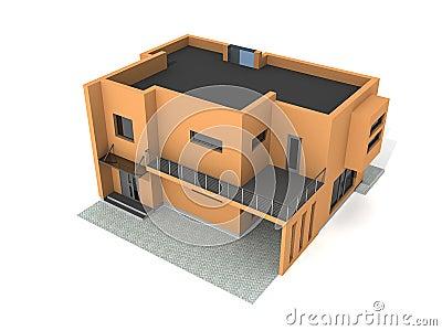 Modern private house exterior 3d render