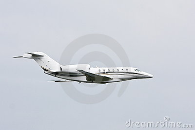 Modern private jet in flight