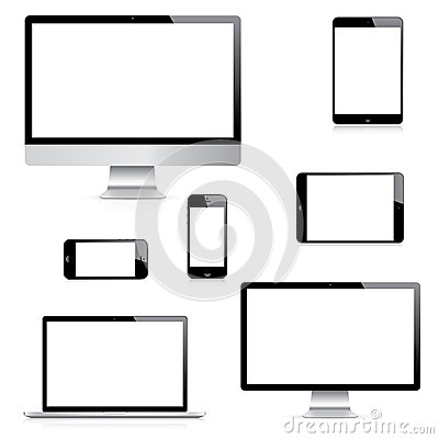 Free Modern Realistic Computer, Laptop, Tablet And Smartphone Vectors Set Royalty Free Stock Images - 41402239