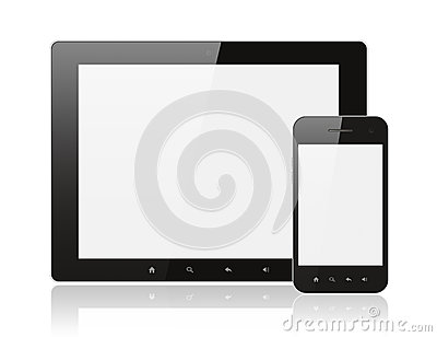 Modern realistic digital tablet PC with smartphone